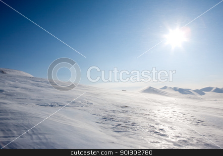 Svalbard Landscape stock photo, A winter landscape with blowing snow on Spitsbergen Island, Svalbard, Norway by Tyler Olson