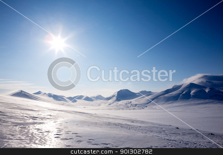 Winter Mountain snow stock photo, A winter landscape on Spitsbergen Island, Svalbard, Norway by Tyler Olson
