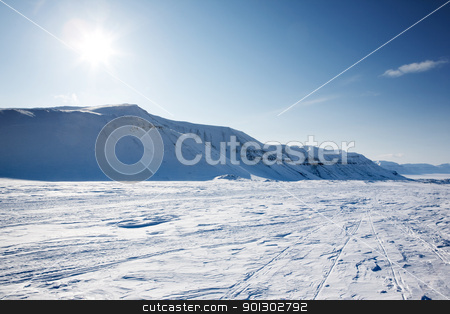 Winter Wonderland stock photo, A beautiful winter landscape with a mountain and deep blue sky by Tyler Olson