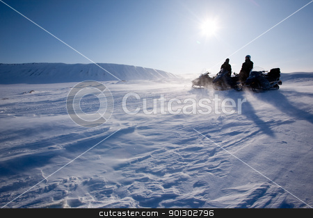 Winter Mountain Travel stock photo, Travelling in a very cold winter landscape with blowing snow by Tyler Olson