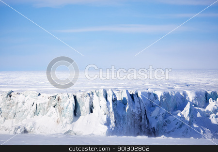 Glacier stock photo, A glacier on the coast of Spitsbergen, Svalbard, Norway. by Tyler Olson