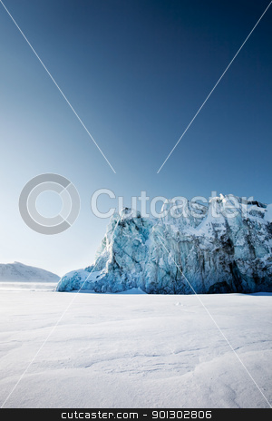 Glacier stock photo, A glacier on the coast of Spitsbergen, Svalbard, Norway. by Tyler Olson