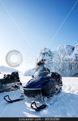 Winter Snowmobile Landscape stock photo, A glacier detail on the island of Spitsbergen, Svalbard, Norway by Tyler Olson