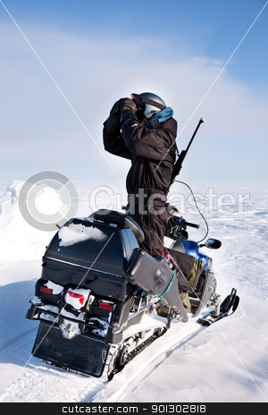 Adventure Guide stock photo, An adventure guide on the island of Spitsbergen, Svalbard, Norway by Tyler Olson