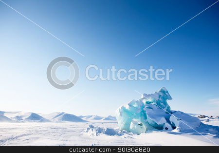 Glacier Landscape stock photo, A glacier on the coast of Spitsbergen, Svalbard, Norway. by Tyler Olson