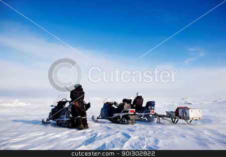 Svalbard Snowmobile Adventure stock photo, An adventure guide on the island of Spitsbergen, Svalbard, Norway by Tyler Olson