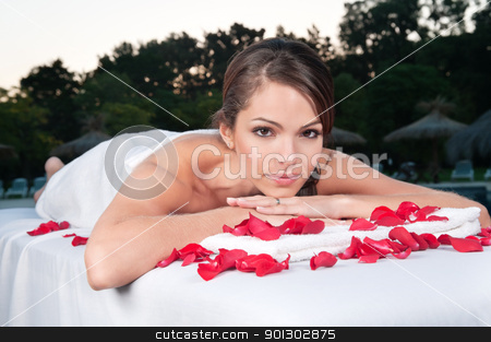 Beautiful woman at a day spa stock photo, Portrait of an beautiful woman at a day spa in a natural setting by Tyler Olson