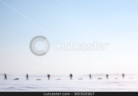 Arctic Expedition stock photo, A group of adventurers on a arctic expedition by Tyler Olson