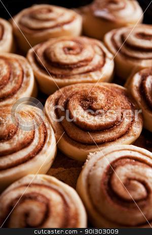 Cinnamon Buns stock photo, A detail of raw cinnamon buns - very shallow depth of field. by Tyler Olson