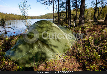 Tent in Forest stock photo, A tent in a forest by a lake by Tyler Olson
