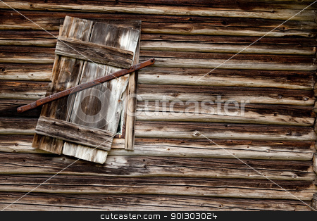 Log Cabin Background stock photo, A weathered log cabin background texture with old window by Tyler Olson
