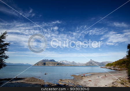 Norway Beach stock photo, A small beach on the coast of northern Norway by Tyler Olson