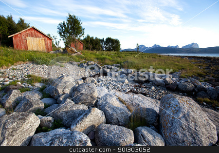 Norway Rural Landscape stock photo, A rural landscape on the coast of northern Norway  by Tyler Olson