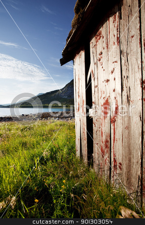 Boat House Norway stock photo, A boat house on the coast of northern Norway by Tyler Olson