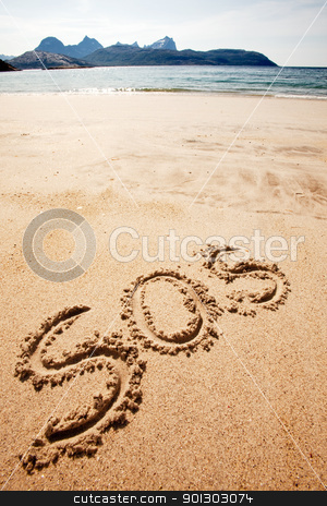 SOS stock photo, S.O.S written in the sand of an island with the ocean in the distance by Tyler Olson