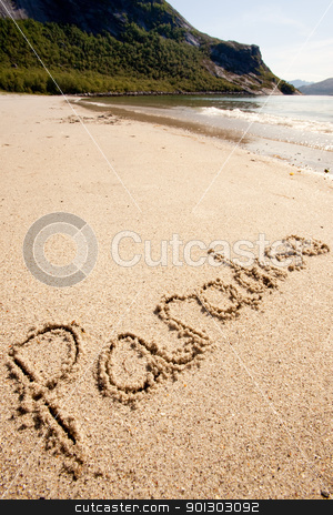 Paradise Island stock photo, Paradise written in the sand on a beautiful island. by Tyler Olson