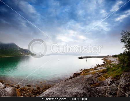 Coast Norway stock photo, A dramatic sky on the norwegian coast in norther Norway by Tyler Olson