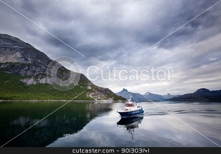 Ferry Norway stock photo, A small ferry in northern Norway on the ocean by Tyler Olson