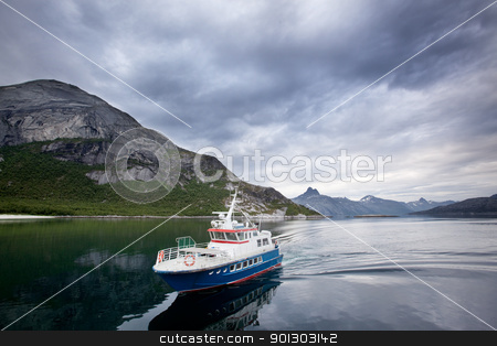 Ferry stock photo, A small ferry in northern Norway on the ocean by Tyler Olson