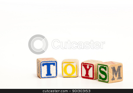 Toys stock photo, Toy blocks isolated on white spelling the word toys by Tyler Olson