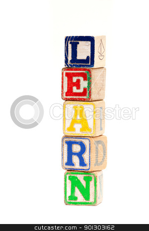 Learn stock photo, The word learn with wooden baby blocks by Tyler Olson