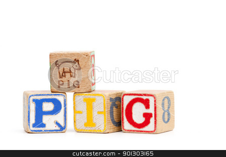 Spell Pig stock photo, The word pig spelled with childrens blocks by Tyler Olson
