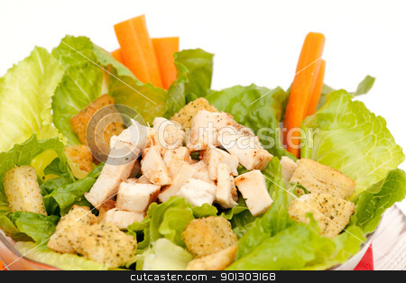 Healthy Salad stock photo, Chicken caeser salad isolated on a white background by Tyler Olson