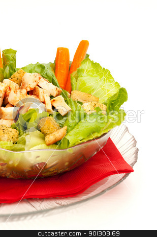 Chicken Caesar Salad stock photo, Chicken Caesar Salad with grilled chicken isolated on white by Tyler Olson