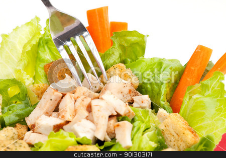 Chicken Salad stock photo, Chicken Caesar Salad detail with carrots and croutons by Tyler Olson