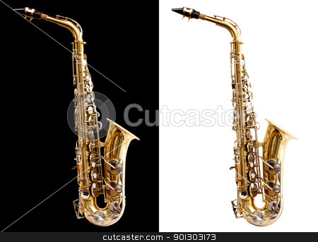 Saxophone stock photo, Isolated saxophone with clipping path on black and white for easy use by Tyler Olson