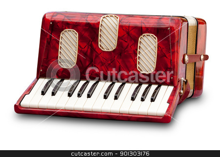 Accordion stock photo, Retro small red accordion isolated on white by Tyler Olson