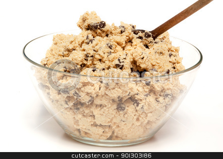 Cookie Dough Bowl stock photo, A bowl of raw chocolate chip cookie dough by Tyler Olson