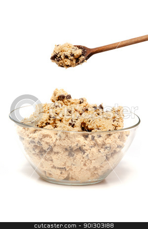 Raw Cookie Dough stock photo, A bowl of raw chocolate chip cookie dough by Tyler Olson