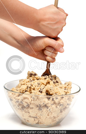 Cookie Dough Mix stock photo, mixing a large bowl of chocolate chip cookie dough by Tyler Olson