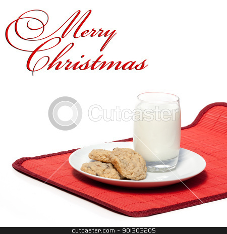 Christmas Treat stock photo, Milk and cookies - a typical christmas snack with a Merry Christmas copy space by Tyler Olson