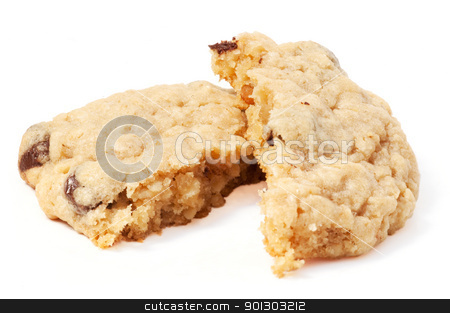 Chocolate Chip Cookie stock photo, An isolated chocolate chip cookie on white by Tyler Olson