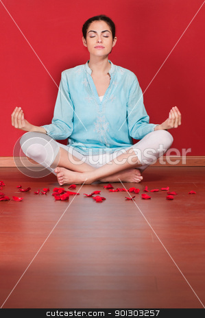 Woman performing yoga stock photo, Female practicing yoga in the lotus position against colored background by Tyler Olson