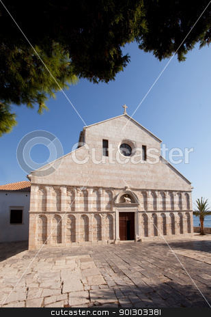 Old Stone Cathedral  stock photo, An old stone cathedral on the Island of Rab, Croatia - The Cathedral of the Holy Virgin Mary's Assumption by Tyler Olson