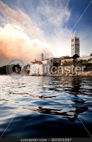 Old Medieval Town stock photo, An old medieval town on the island of Rab, Croatia by Tyler Olson