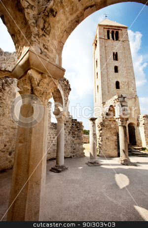 Old Church Ruins stock photo, Ruins of the Church of St. John the Evangelist in Rab Croatia - a popular tourist attraction by Tyler Olson