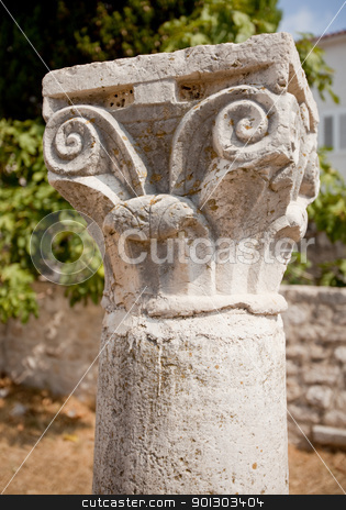 Roman Collumn stock photo, An old collumn for a Romanesque cathedral in Rab, Croata by Tyler Olson