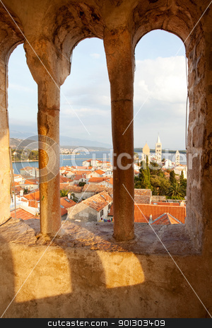 Old Town Cityscape stock photo, An old fortified town in South Eastern Europe - Rab, Croatia by Tyler Olson