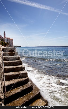 Stone Stairway Ocean stock photo, A stone staircase down to the ocean - Rab Croatia by Tyler Olson
