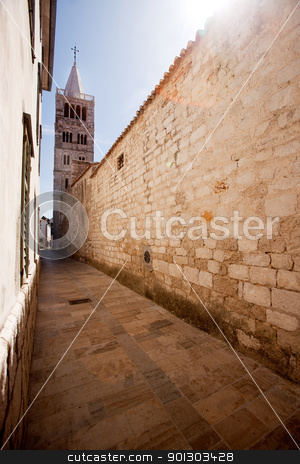 Rab Croatia stock photo, One of the four towers in the old city of Rab, Croatia by Tyler Olson