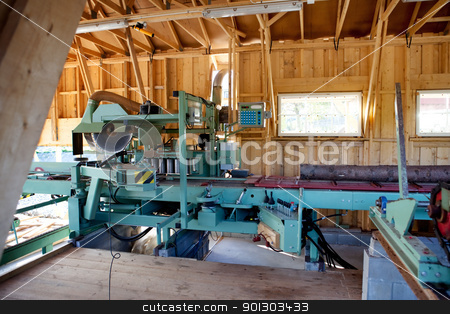 Lumber Mill stock photo, An interior of a small saw mill  by Tyler Olson