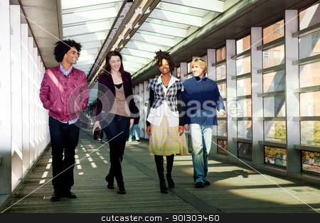Group of Friends stock photo, A group of friends walking in an urban setting by Tyler Olson
