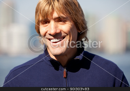 Smile Man stock photo, A portrait of happy man outside with a smile by Tyler Olson