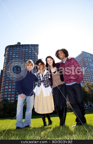 Urban Friend Group stock photo, A group of friends in an urban setting by Tyler Olson