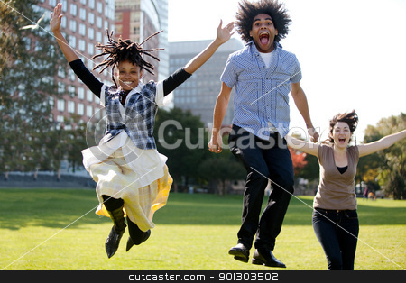 Jump for Joy stock photo, A group of people jumping for joy in a city park by Tyler Olson