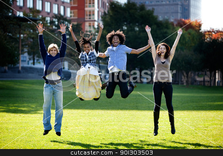Jump for Joy stock photo, A group of happy people running towads the camera.  Sharp focus on rear three people, motion blur on front person. by Tyler Olson